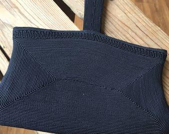 30s navy corde handbag