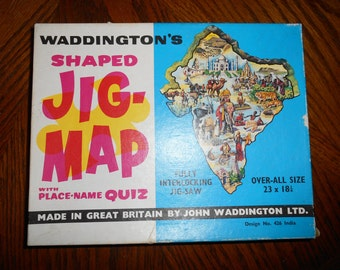 Vintage Retro 1960s Waddingtons Jig-Map Jigsaw 'India'