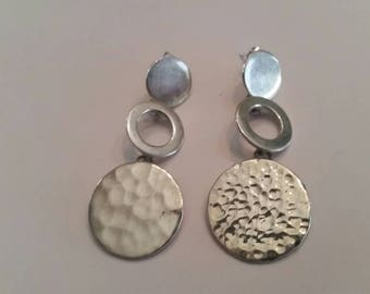 Vintage Sterling Silver Earrings Dangle Hammered Mexican Disc 925
