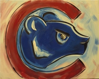 Chicago Cubs Abstract Painting