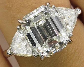 4.36ct Estate Vintage Emerald cut Diamond 3 Stone Engagement Wedding Platinum Ring EGL USA