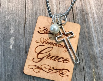 Amazing Grace Cross Necklace, Group Gift Ideas, Group Discounts, Wedding Gifts, Laser Engraved, Customized Jewelry, Bursting Barns Laser
