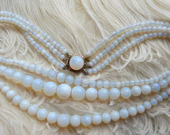 Vintage Art Deco Opaline French Glass Bead Necklace - 3 Row Necklace