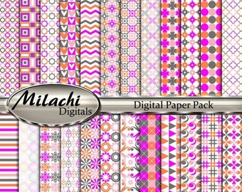 """60% OFF SALE Coral, Pink, Magenta, Gray Digital Paper Pack, 12"""" x 12"""" Scrapbook Papers, Commercial Use - Instant Download - M241"""
