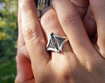 925 sterling silver, bohemian silver ring, authentic ring, tribal silver ring, carved ring, unique ring, silver ring, filigree ring, ring
