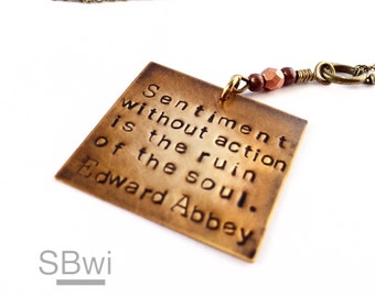 Edward Abbey necklace in bronze with copper detail