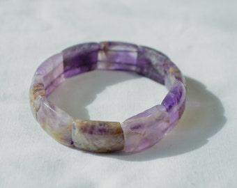 Vintage Natural Purple Amethyst Gemstone Beaded Stretchy Bracelet