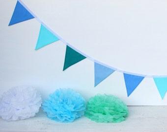Blue, aqua mini fabric bunting, cake smash, photography prop, baby shower, nursery, children's bedroom, gift, birthday party