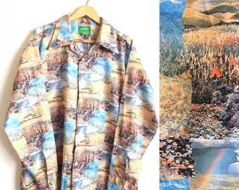70s JOE NAMATH For ARROW Flower Fields And Rainbows All Over Print Psychedelic Button Down Shirt / Size X-Large