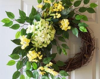 Large Summer Wreath, Green Hydrangeas Ficus Leaves Wreath