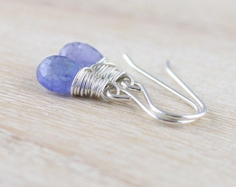 Tanzanite & Sterling Silver Dainty Drop Earrings. Genuine Tanzanite Jewelry. Natural Tanzanite Wire Wrapped Earrings. Delicate Jewellery