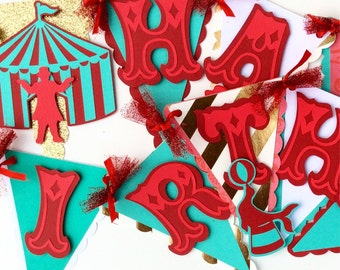 Carnival birthday banner, circus birthday banner, carnival birthday decorations, carnival theme party, teal red and gold