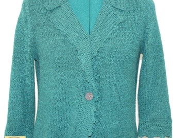 Dark Teal Sweater with scalloped lapel down front opening and cuffs. By Cold Water Creek. Spring sweater, unique sweater, sweet sweater,