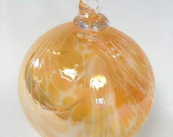 Yellow Hand Blown Glass Ornament