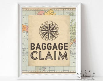 Baggage Claim Sign Printable, Travel Compass Around the World Baby Shower Decor Decorations Printable (INSTANT DOWNLOAD) No.1269BABY