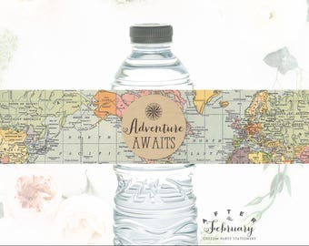 Adventure Awaits Water Bottle Labels Printable Travel Compass Around the World Baby Shower Decorations Boy (INSTANT DOWNLOAD) No.1269BABY
