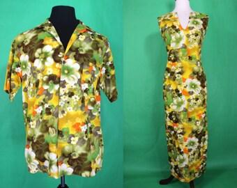 Hawaiian Honeymoon Set.......60's Floral Hawaiian Honeymoon Set Hawaiian Shirt And Dress Set