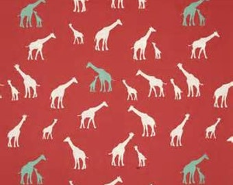 Giraffe Coral Red knit by birch fabrics organic cotton knit giraffe print fabric by the yard, baby apparel fabric, knit stretch fabric