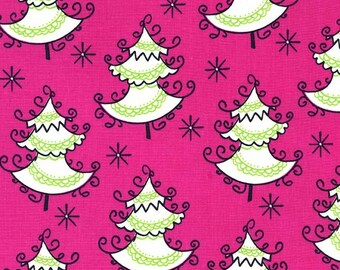 Trim the trees in hollyberry from All the Trimmings collection from Michael Miller fabrics, Pink Christmas tree fabric,Pink Christmas fabric