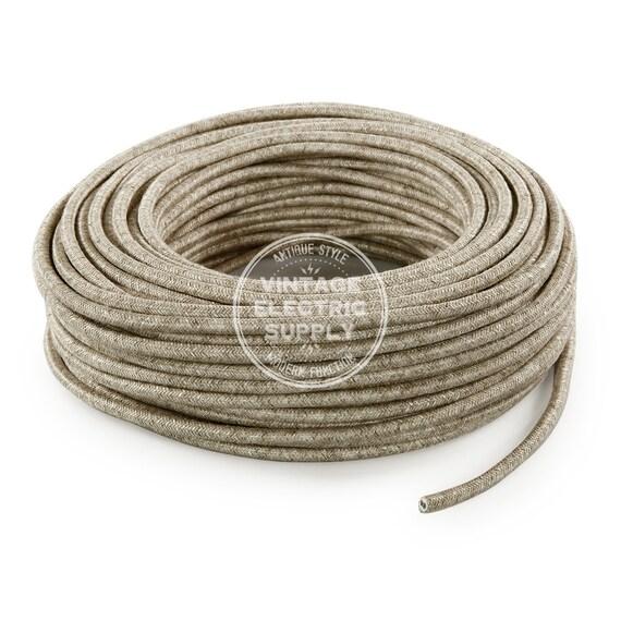 canvas linen cloth covered wire vintage l cord antique