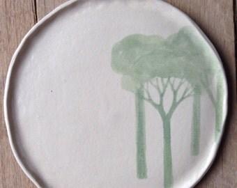 Handmade ceramic dinner plate, forest edge, stoneware plate, Australian made, rustic,Australian ceramics