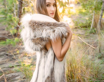"Burning Man Womens Faux Fur Desert Warrior Vest Hooded Vest in ""Coyote"""