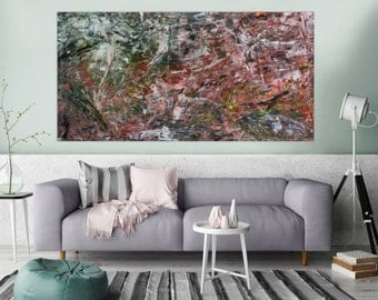Original abstract artwork on canvas ready to hang 100x200cm #302