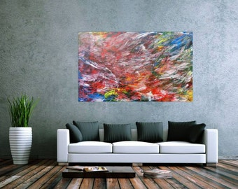 Original abstract artwork on canvas ready to hang 100x160cm #456