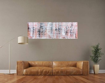 XXL abstract painting 50x150cm modern acrylic art on canvas and frame #501