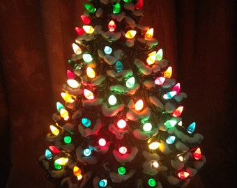 """WoW Beautiful Large 17"""" Green Two Piece Slender Ceramic Snow Covered Christmas Tree with over 100  Colorful Lights Atlantic Mold"""