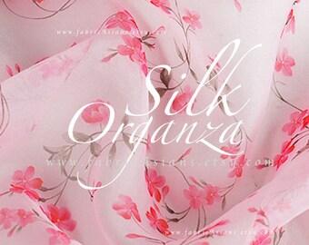 Pink organza Silk. Wedding Fabric by the yard