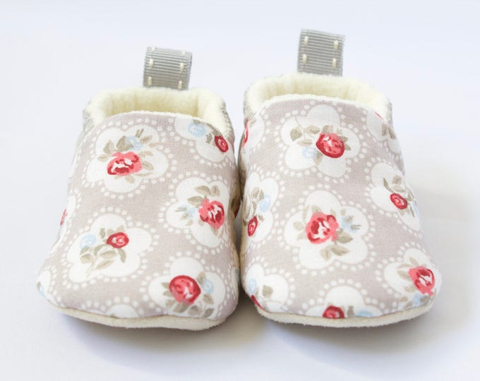 Grey floral and pin spot soft sole pre walker baby shoe, mocc