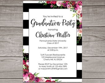 Graduation Invitations Pink And Gold Graduation Invitation