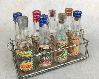 antique miniature doll size German liqueur bottles, RARE, doll accessory, dollhouse miniature