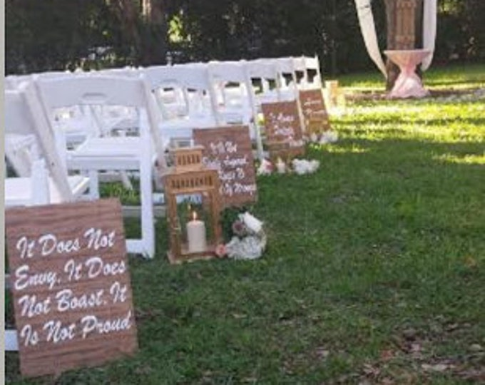 Rustic Wooden Wedding Ceremony Decor, Wedding Aisle Signs, Couples Gift Idea