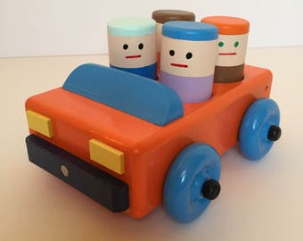 Wooden Toy Car with a Family of 4 wooden People. Wooden Push Toy Car. Waldorf Toy Car.