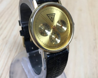Stylish Vintage Guess Leather Band Gold Tone Analog Quartz Watch Hours Clock~New Battery