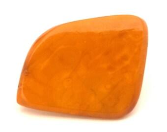 Amber Baltic Brooch Antique Genuine Natural 13.03 Gr Huge Egg Yolk Orange Color