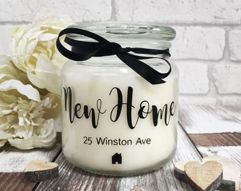 Large New Home personalised scented candle gift