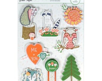 Grace Taylor Forest Friends Grand Adhesions Sticker Set 8 Woodland Dimesional Glitter Stickers Fox Owl Racoon Hedgehog Flower Heart Tree 3D