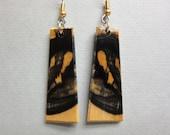 Black White Ebony Exotic Wood Earrings Drop ExoticWoodJewelryAnd handcrafted ecofriendly