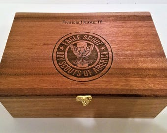Personalized Boy Scout Memory Box 12x8x4,Custom Hand Made Wood Eagle Scout Storage Box,Boy Scout Troop Memory Box,Personalized Keep Sake Box