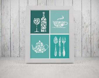 Teal Kitchen Decor, Teal Kitchen Print, Teal Kitchen Wall Art, Teal Kitchen  Poster