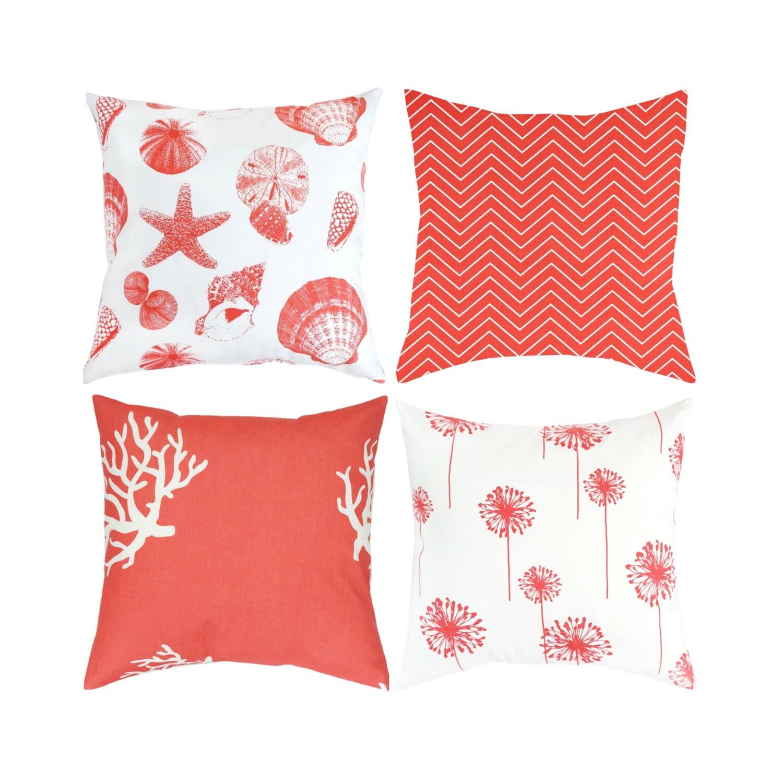 Coral Pink Red Throw Pillow Toss PillowEuro Sham Cushion Cover