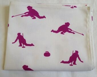 Curling tea towel - women curlers in pink - pink curling tea towel - pink curling kitchen towel - in 100% cotton