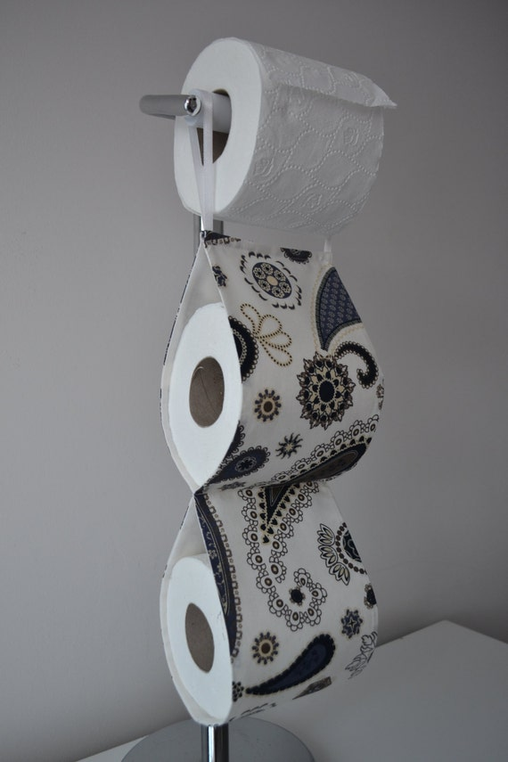 The Decorative Toilet Paper Holder Storage Cream With Navy