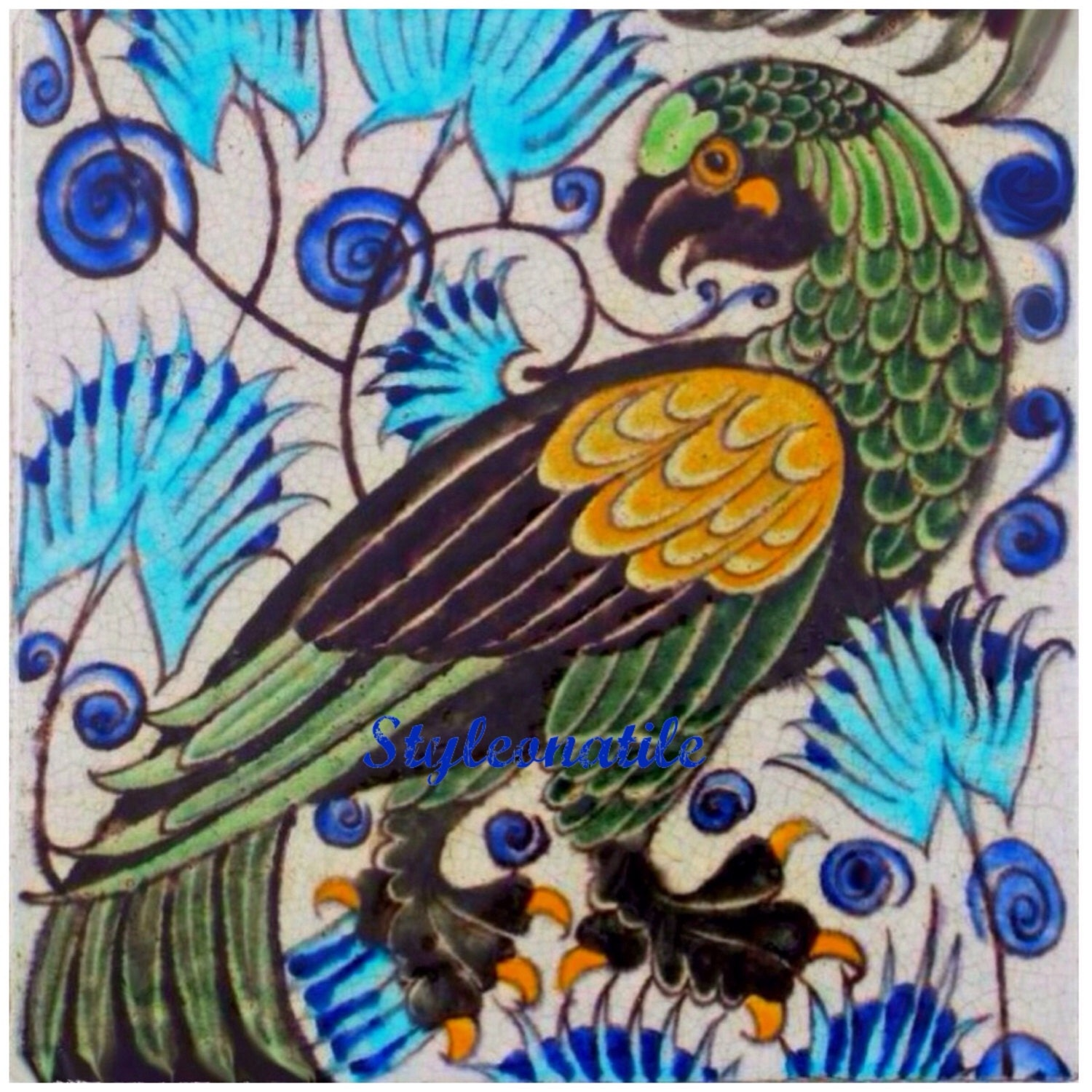 Lovely art and crafts william de morgan green brown blue for Arts and crafts mural