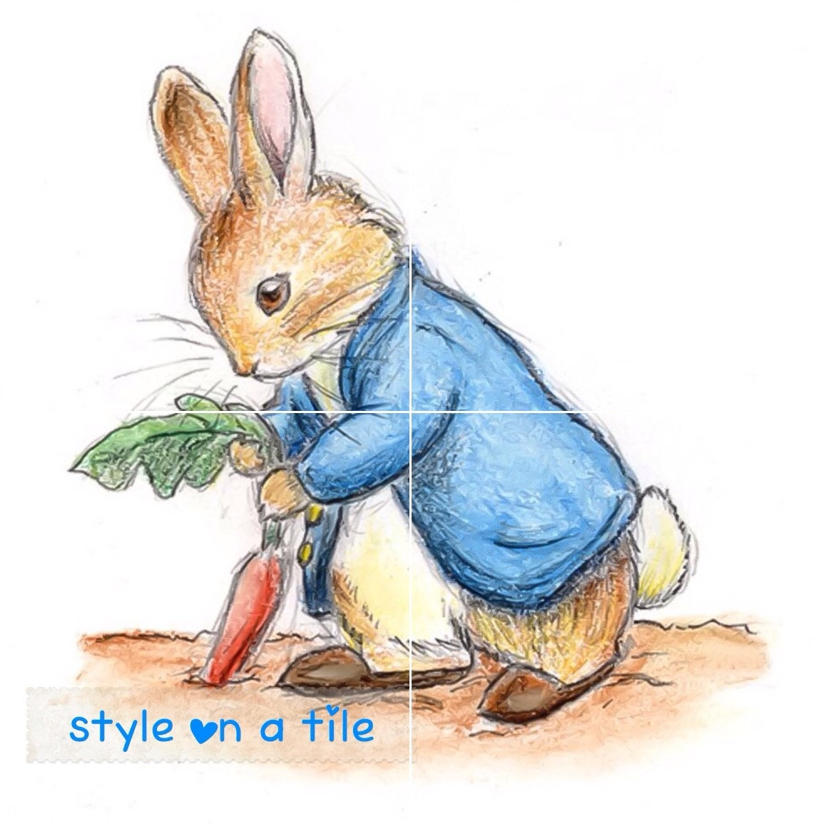 Lovely beatrix potter peter rabbit bunny 4 x 6 or 152mm ceramic lovely beatrix potter peter rabbit bunny 4 x 6 or 152mm ceramic tile mural mosaic wall art splash back dailygadgetfo Gallery