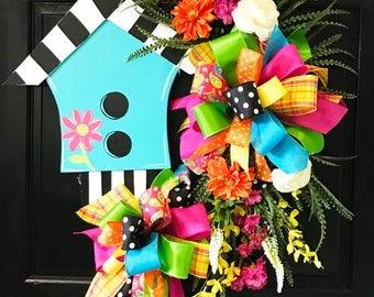 Birdhouse Wreath, Door Decoration, Summer Door Decor