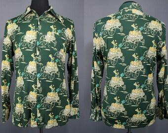 70's Disco Shirt.......70's Poly Train Print Disco Shirt XL